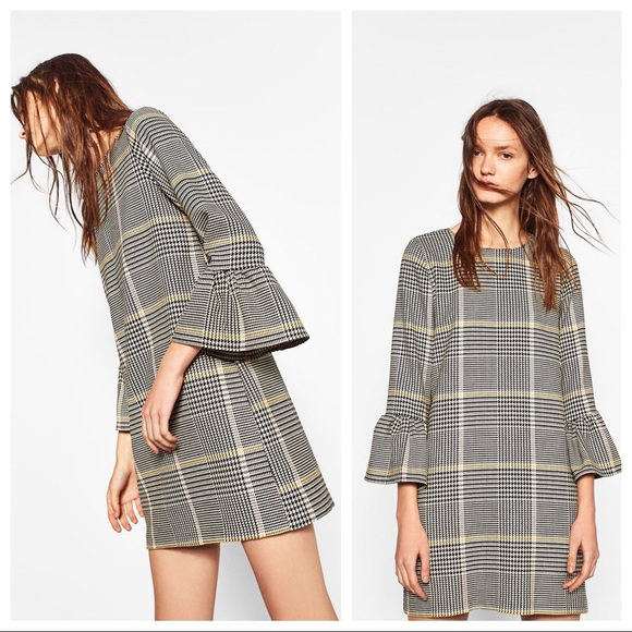 d5c667d5 ZARA TRF Frilled Sleeves Check Houndstooth Dress. M_5b286b2412cd4aaaddd4c15e